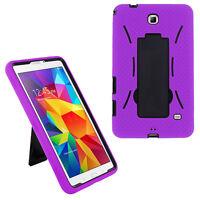Heavy Duty Hybrid Cover Case for Samsung Galaxy Tab 4 7 7.0 T230 T237 (Purple)