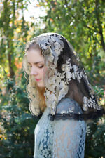 Evintage Veils: Traditional D Shape Gold & Black Lace Mantilla Chapel Veil