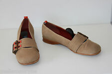 Ballerines STEPHANE GONTARD Toile Rigide Marron Clair Pieds Larges T 38.5 BE