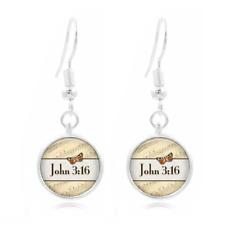 John 3 16 Bible glass Frea Earrings Art Photo Tibet silver Earring Jewelry #331