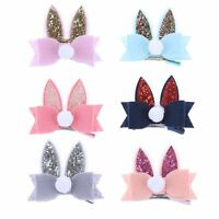 Fabric Girls Kids Barrette Baby Hair Clips Glittering Rabbit Ears Hairpins