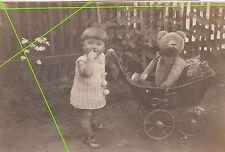 3 x Foto kleines Mädchen mit schönen großen Teddybär 1930 ! (F811