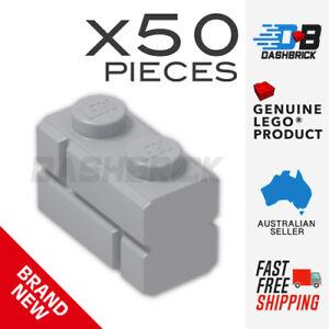 x50 Genuine LEGO® 1 x 2 Brick, Modified Masonry - Light Grey - Part 98283- NEW