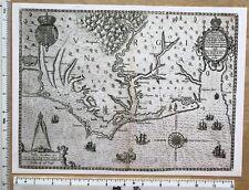 "Antique Vintage Old MAP 1500's: Virginia, America 1590: 12.5 X 9"" Reprint"