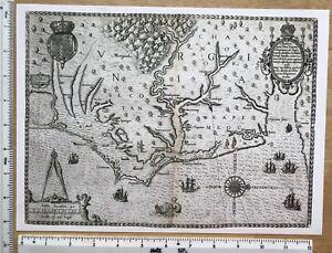 Historic Antique Vintage Old MAP 1500's: Virginia, America 1590: Reprint