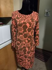 Attention BEAUTIFUL SHIFT ORANGE AND BROWN BOAT NECK STRETCHY GRAPHICS dress