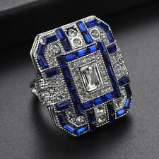 Women Finger Loop Sapphire Crystal Rings Exquisite Present Square Crystal Band