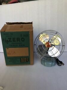 Vintage WITH BOX Excellent McGraw Edison ZERO Fan Model 1250R Enamel Metal