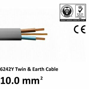 10mm Twin and Earth T&E Electric Cable Domestic Cooker Shower FREE Cable Clips
