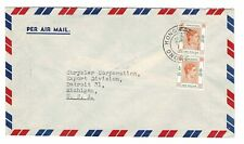 Hong Kong Stamps Scott #163B $1 Pair On Cover Airmail Envelope Plane Background!