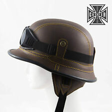 L Brown WWII German Style Motorcycle Half Helmet Skull Cap Biker Chopper Novelty