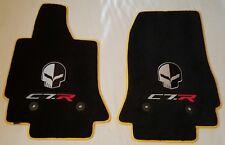 Lloyd Mats C7 Corvette Jake & C7.R Ebony Floor Mats & Yellow Binding (2014 & Up)