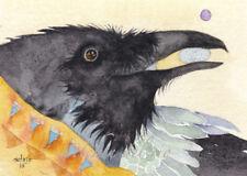 """ACEO GICLEE PRINT watercolor 2.5"""" x 3.5"""" Del Rio RAVEN 'Dreamer'"""