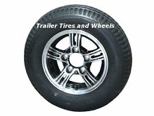 "AM02B 4.80-12 LRB Bias Trailer Tire on 12"" 5 Lug Aluminum Trailer Wheel 4.80x12"