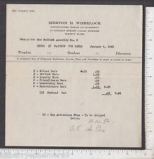 8778 Merton H. Wheelock silversmith Boston 1943 billhd New Bedford Rainbow Girls