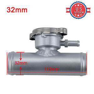 "32mm 1-1/4"" O.D Aluminum Radiator Hose Pipe Inline Filler Neck & Free 16PSI Cap"