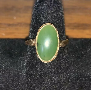 Vintage 10K Yellow Gold Ring  Nephrite Jade Ring  Rope Design  Hearts on Side  Fine Jewelry  Estate