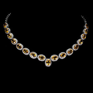 Unheated Oval Citrine 8x6mm Cz 14K White Gold Plate 925 Sterling Silver Necklace