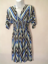 Cristina Love Dress With Key Whole Back Blue/ Black/ White V-Neck Size Small