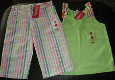 Gymboree Spring Fun lime stripe ribbon top & seersucker striped capris NWT 5