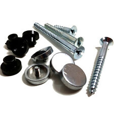 "PACK OF 4, 2"" SIGN / MIRROR FIXING SCREWS & 4, POLISHED CHROME DISCS & 4 COLLARS"
