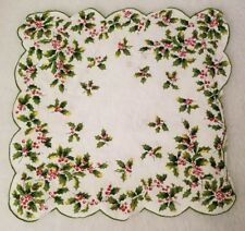 "Red White Green Yellow Christmas Holly Berry Design Doily Size 11"" x 11"""