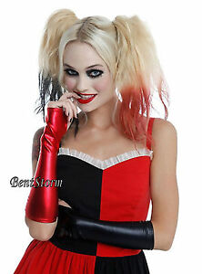 Suicide Squad Harley Quinn Red And Black Lame Costume Long Fingerless Gloves