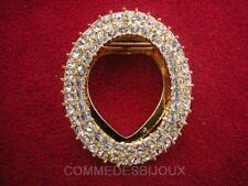 """Clip Foulard """"Ovalisé"""" Double Rangée Pavé cristal Blanc - Bijoux Vintage Sphinx"""
