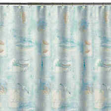 "Saturday Knight High Tide Fabric Shower Curtain sea ocean nautical 72"" L x 70"" W"