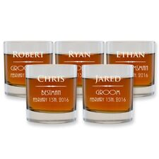 4 Customized scotch Glasses Engraved Groomsmen Gifts Wedding Bourbon Highball