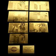 Euro 7Pc 5€-500€ In Foglia D'Oro Con Lingotto Puro 24Kt Gold Bill W/Certificate