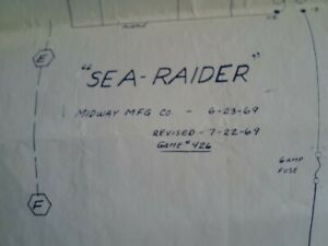 ORIGINAL  sea raider schematic by midway from 1969