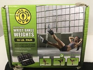 Golds Gym - Adjustable Ankle Weights,10 Lb Pair Ankle/Wrist Weights (2x5lb)