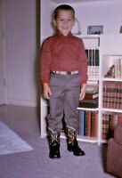 Little Boy in Cowboy Boots 1963 Kodachrome 60s Vintage 35mm Slide A152