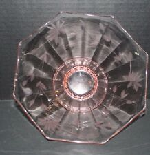 "Pink Depression ""LANCASTER"" Optic Panel Etched Glass  Pedestal"