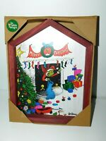 New Dr Seuss The Grinch In The Fireplace Wood Wall Art Christmas Decor