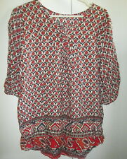 Ladies Size 10 Smock Top Loose Fit Short Sleeve Cotton Blend