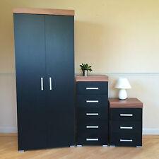 Black & Walnut Bedroom Set! Wardrobe, 5 Drawer Chest, 3 Draw Bedside Cabinet NEW