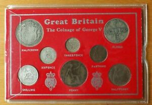 British Coinage Of George V Eight Coin Set Farthing-Halfcrown Lovely Cased.