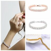Luxury Women Roman Chain Clear Zircon Crystal Bangle Rhinestone Bracelet Gift