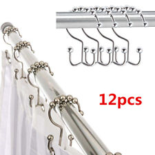 12pcs Chrome Plated Ball Bead Easy Glide Shower Metal Curtain Rings Hooks