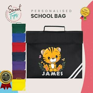 PERSONALISED CUTE TIGER SCHOOL BOOK BAG KIDS ANY NAME BACK TO SCHOOL BOYS GIRLS