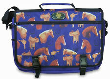"Horse Heads & Horseshoes Navy Equestrian 16"" Messenger Bag New"