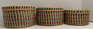 Colorful Round Lidded Weaved Intricate Basket Multi-Color Set Of Three