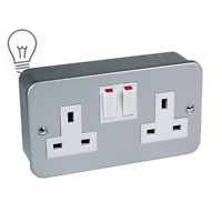 PREMIUM Metal Clad 1 Gang 2 Gang Single Double Switched Socket