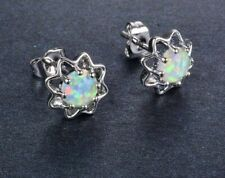 Beautiful 925 Sterling Silver White Fire Opal Round Flower Shaped Stud Earrings