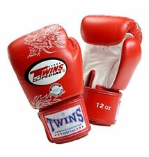 Twins Special Muay Thai MMA K1 Boxing Gloves USA STOCK Red/White Dragon 12 oz