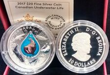 2017 Canadian Underwater Life $20 1OZ Pure Silver Coin Canada 3D Water Droplet