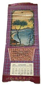 1938 Fallon Laundry summer bay scene ad wall calendar Nevada bamboo scroll Japan