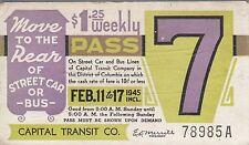 Trolly/Bus pass capital Transit Wash. DC--1945-----96